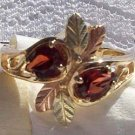 Black Hills Gold Ring Ladies 2 Pear Garnet