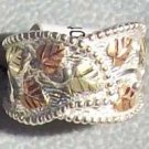 Black Hills Gold Ring Ladies Leaves On Silver Big