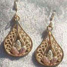 Black Hills Gold Earrings 10K Grapes Filigree Teardrop