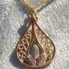 Black Hills Gold Necklace 10K Grapes Filigree Teardrop