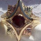 Black Hills Gold Ring Ladies 4 Leaf Round Garnet