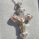 Black Hills Gold Necklace 10K Christ Crucifix Silver