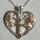 Black Hills Gold Necklace 10K Gold Cross Silver Heart