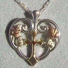 Black Hills Gold Necklace 10K Gold Cross Silver Heart