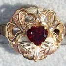 Black Hills Gold Ring Ladies Garnet Open Hearts