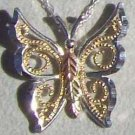 Black Hills Gold Necklace 10K Swirls Silver Butterfly