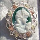 Black Hills Gold Necklace Brooch Poured Agate Mom's Love Cameo