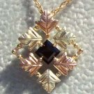 Black Hills Gold Necklace 6 Leaf Faceted Black Onyx