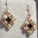 Black Hills Gold Earrings 6 Leaf Faceted Black Onyx