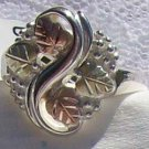Black Hills Gold Ring Ladies 4 Leaf Swirl Vines Silver