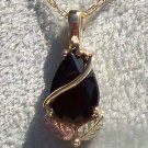 Black Hills Gold Necklace 2 Leaf Faceted Black Onyx Pear