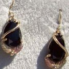 Black Hills Gold Earrings 2 Leaf Facet Black Onyx Pear