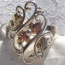 Black Hills Gold Ring Ladies 4 Leaf Curly Vines Silver