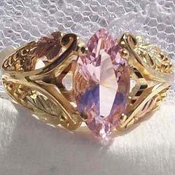 Black Hills Gold Ring Ladies 4 Leaf Pink Cubic Zirconia