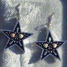 Black Hills Gold Earrings Antiqued Star Silver
