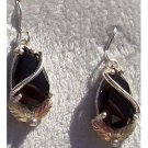 Black Hills Gold Earrings Facet Black Onyx Pear Silver
