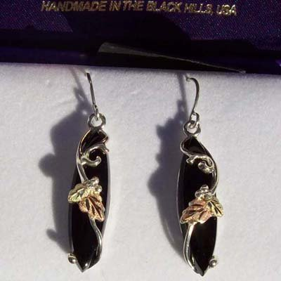 Black Hills Gold Faceted Black Onyx Sterling Silver Earrings