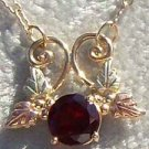 Black Hills Gold Necklace 4 Leaf Round Garnet Festoon
