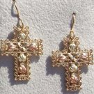 Black Hills Gold Earrings 5 Leaf 10K Filigree Cross