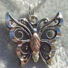 Black Hills Gold Necklace Oxidized Silver Butterfly