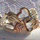 Black Hills Gold Ring Ladies 4 Leaf 10K Open Hearts