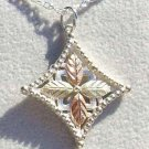 Black Hills Gold Necklace 4 Leaf Grape Silver Cross