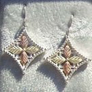 Black Hills Gold Earrings 4 Leaf Grape Fancy Cross