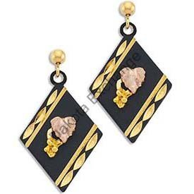 Black Hills Gold On Black Enamel Dressy Earrings