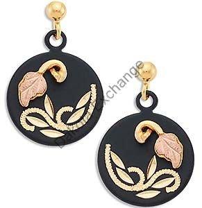 Black Hills Gold On Black Enamel Round Earrings