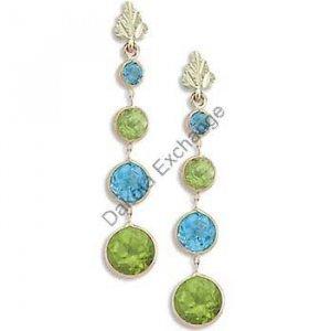 Black Hills Gold Blue Topaz Peridot Post Earrings