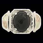 Black Hills Gold Ring Mens Black Onyx Cabochon Square Silver