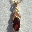 Black Hills Gold Necklace 4 Leaf Faceted Oval Garnet