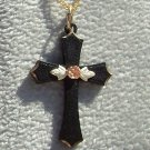 Black Hills Gold Necklace Rose On Black Powder Cross