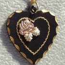 Black Hills Gold Necklace Rose On Black Powder Heart