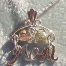 Black Hills Gold Necklace 2 Leaves MOM Silver