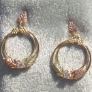 Black Hills Gold Earrings Leaves Hoops Cubic Zirconia