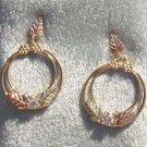 Black Hills Gold Earrings Leaves Hoops Cubic Zirconia