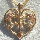 Black Hills Gold Necklace 10K Gold Cross Heart