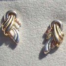 Black Hills Gold Earrings 10K Ribbon Wrap Silver
