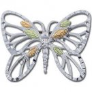 Black Hills Gold On Silver Butterfly Brooch