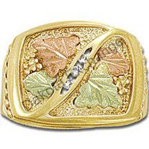 Black Hills Gold 3 Diamond Mens Ring