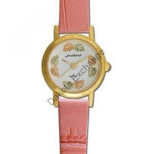 Black Hills Gold 8 Leaf Pink Leather Ladies Watch