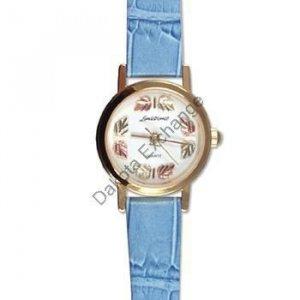 Black Hills Gold 8 Leaf Blue Leather Ladies Watch