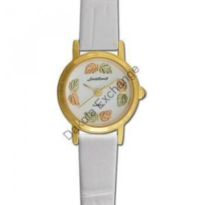 Black Hills Gold 8 Leaf White Leather Ladies Watch