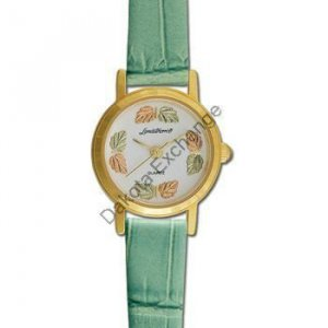 Black Hills Gold 8 Leaf Green Leather Ladies Watch