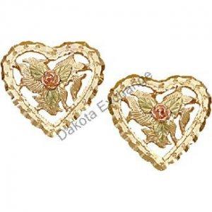 Black Hills Gold Roses Leaves & Heart Earrings