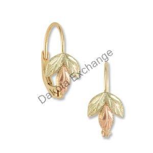Black Hills Gold 3 Leaf Sprig Leverback Earrings