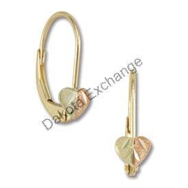 Black Hills Gold Heart Leverback Earrings