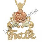 Black Hills Gold Necklace Rose & Leaves FAITH