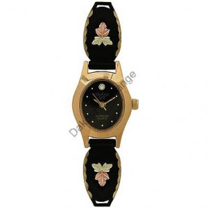Black Hills Gold Watch Ladies Leaf & Diamond Quartz